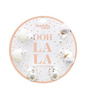 Faux Pearl Embellished Stud Earrings - 3 Pack