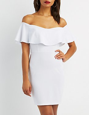 Off-The-Shoulder Foldover Bodycon Dress