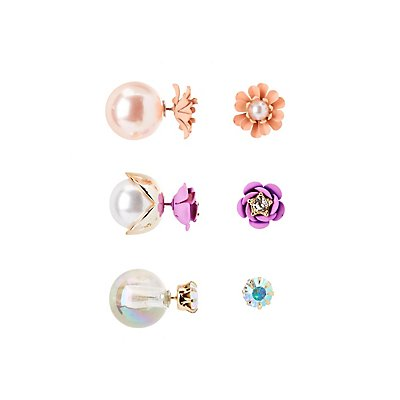 Flower Embellished Stud Earrings - 3 Pack