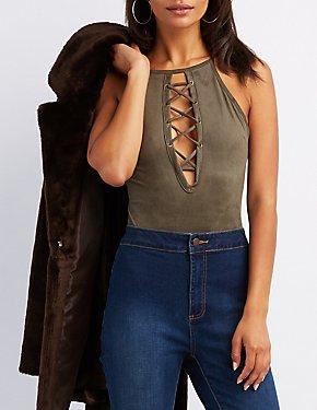 Faux Suede Lace-Up Bodysuit