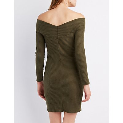 Ribbed Long Sleeve Off-The-Shoulder Dress