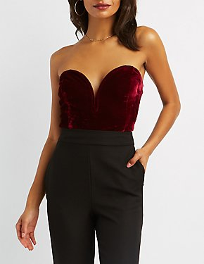 Velvet Wired Notch Crop Top