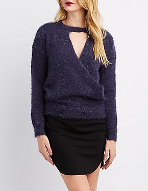 Cut-Out Surplice Pullover Sweater
