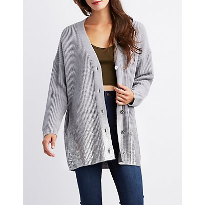 Metallic Foiled Hem V-Neck Cardigan