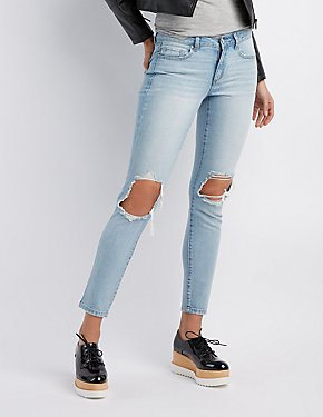 Refuge Destroyed Mid-Rise Skinny Jeans