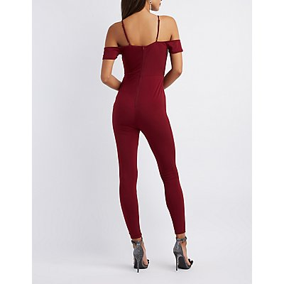Surplice Cold Shoulder Jumpsuit