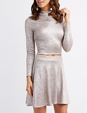 Ribbed Shimmer Mock Neck Crop Top