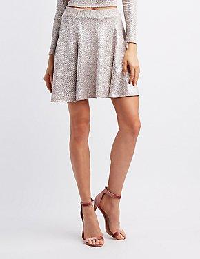 Ribbed Shimmer Skater Skirt