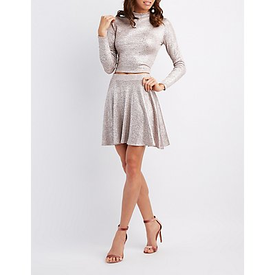 Ribbed Shimmer Skater Skirt