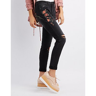 Refuge Floral Patch Destroyed Skinny Jeans