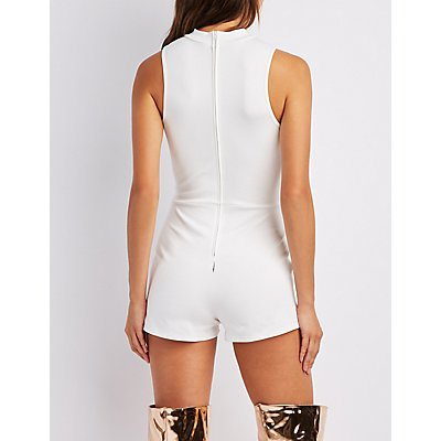 Scallop-Trim Choker Neck Envelope Hem Romper