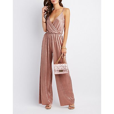 Pleated Surplice Jumpsuit