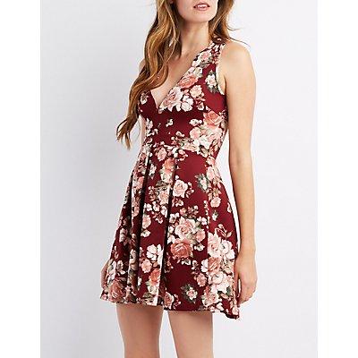 Floral Scalloped Skater Dress