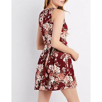 Floral Scalloped Skater Dress