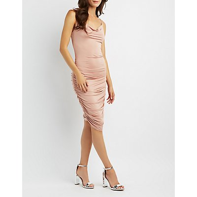 Ruched Cowl Neck Bodycon Dress