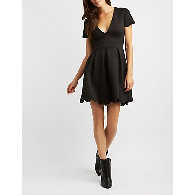 Scalloped V-Neck Skater Dress