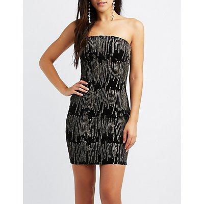Metallic Embroidered Velvet Bodycon Dress