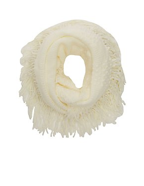 Fringe Knit Infinity Scarf