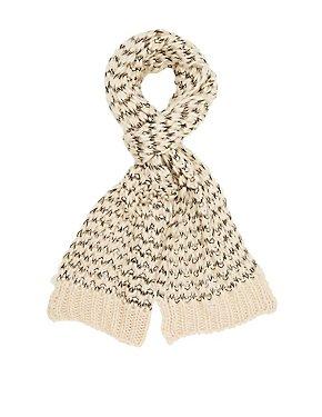 Contrast Open-Knit Wrap Scarf