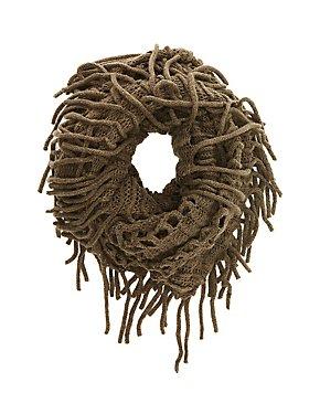 Open Knit Fringe Trim Infinity Scarf