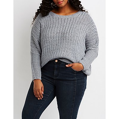 Plus Size Dolman Pullover Sweater