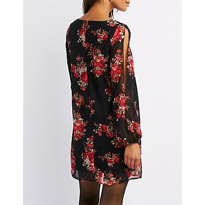 Floral Split Sleeve Shift Dress