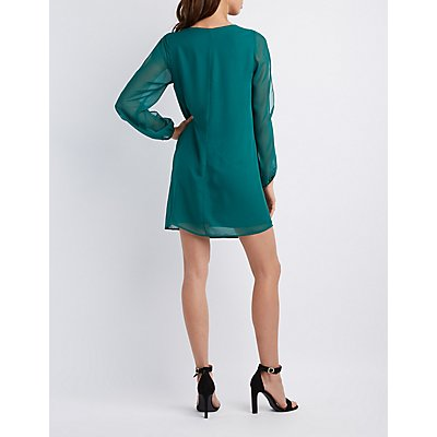 Chiffon Split-Sleeve Shift Dress