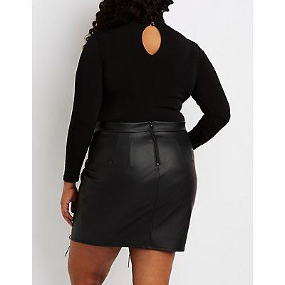 Plus Size Mock Neck Cut-Out Bodysuit