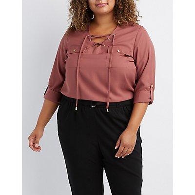 Plus Size Lace-Up Pocket Shirt