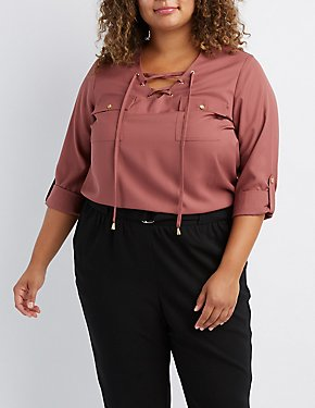 Plus Size Lace-Up Pocket Shirt