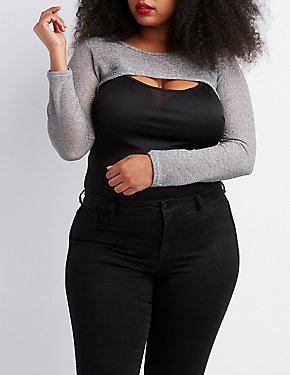 Plus Size Metallic Open-Knit Shrug