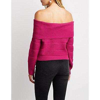 Off-The-Shoulder Crop Top Sweater
