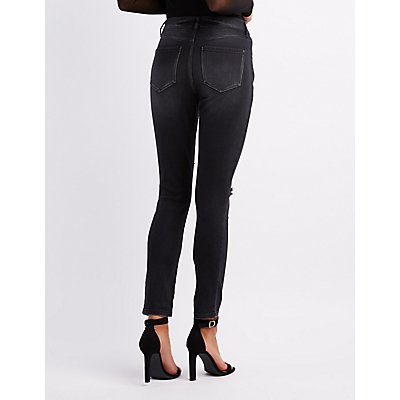 Refuge Mid-Rise Faux Pearl Embellished Jeans