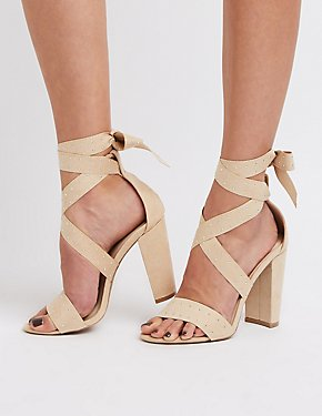 Faux Suede Lace-Up Studded Sandals