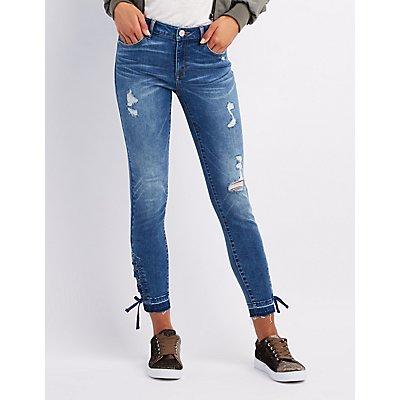 Refuge Destroyed Lace-Up Skinny Jeans