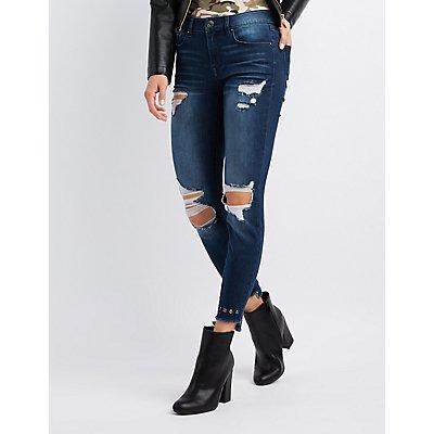 Refuge Grommet-Trim Destroyed Skinny Jeans