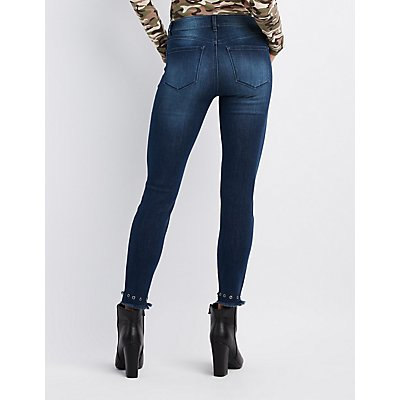 Refuge Grommet-Trim Destroyed Skinny Jeans