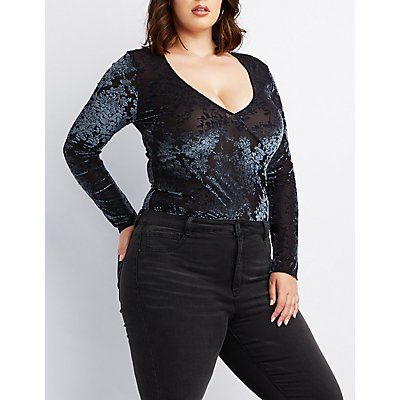 Plus Size Flocked Velvet Mesh Bodysuit