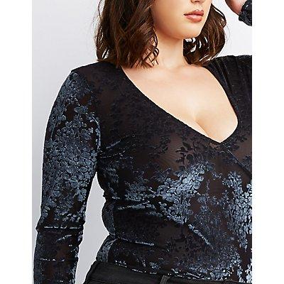 Plus Size Flocked Velvet Mesh Bodysuit