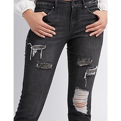 Refuge Rhinestone Inset Destroyed Skinny Jeans