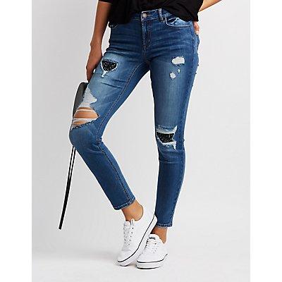 Refuge Glitter Inset Destroyed Skinny Jeans