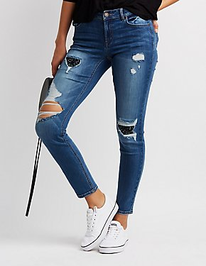 Refuge Glitter Inset Destroyed Skinny Jeans