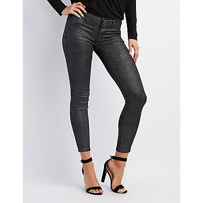 Refuge Metallic Coated Skin Tight Legging Jeans
