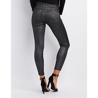 Refuge Metallic Coated Skin Tight Legging Jeans