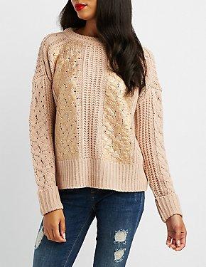 Metallic Foil-Detail Pullover Sweater