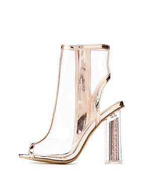 Bamboo Clear Peep Toe Lucite Heel Booties