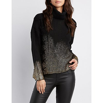 Lace-Up Detail Metallic Turtle Neck Sweater