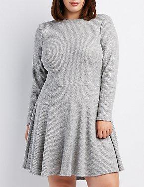 Plus Size Waffle Knit Skater Dress