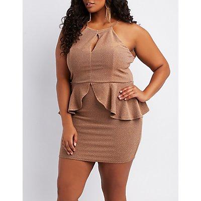 Plus Size Shimmer Knit Peplum Bodycon Dress