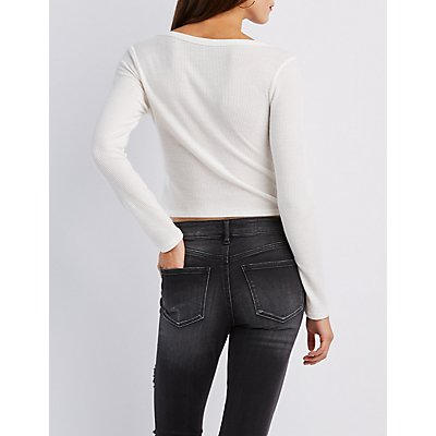 Ribbed Hacci Henley Crop Top